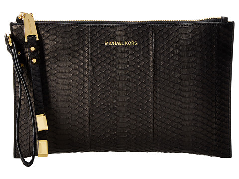 Michael Kors - Harlow Large Zip Clutch (Black) Clutch Handbags