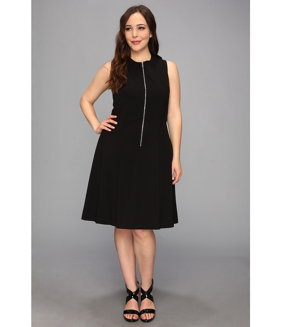 Calvin Klein Plus - Plus Size Zip Flirt Fit Flare Lux Stretch Dress (Black) Women's Dress
