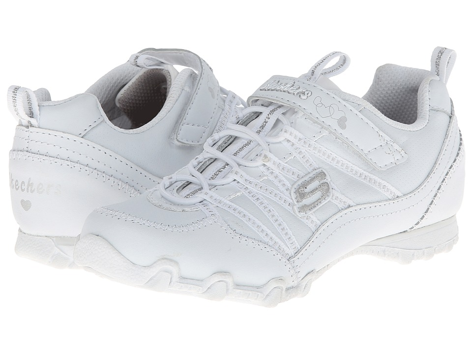 SKECHERS KIDS - Biker II - School Star 82831L (Little Kid/Big Kid) (White/Silver) Girls Shoes