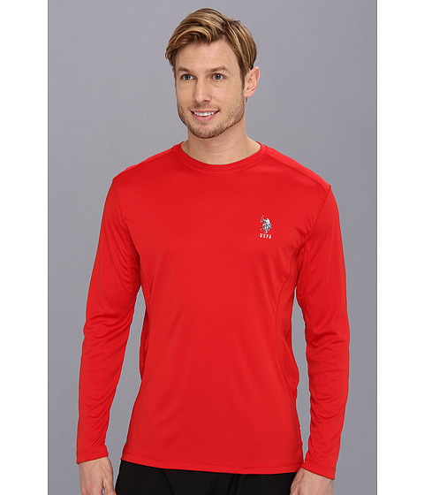 U.S. POLO ASSN. - Long Sleeve Performance Crewneck With Poly Micro Mesh Insert (Engine Red) Men's Long Sleeve Pullover