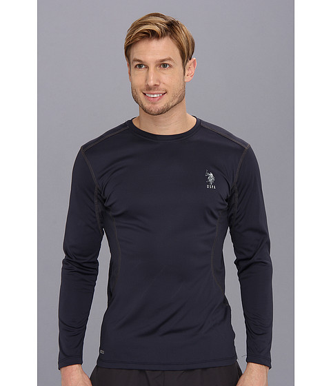 U.S. POLO ASSN. - Long Sleeve Performance Crewneck With Poly Micro Mesh Insert (Classic Navy) Men