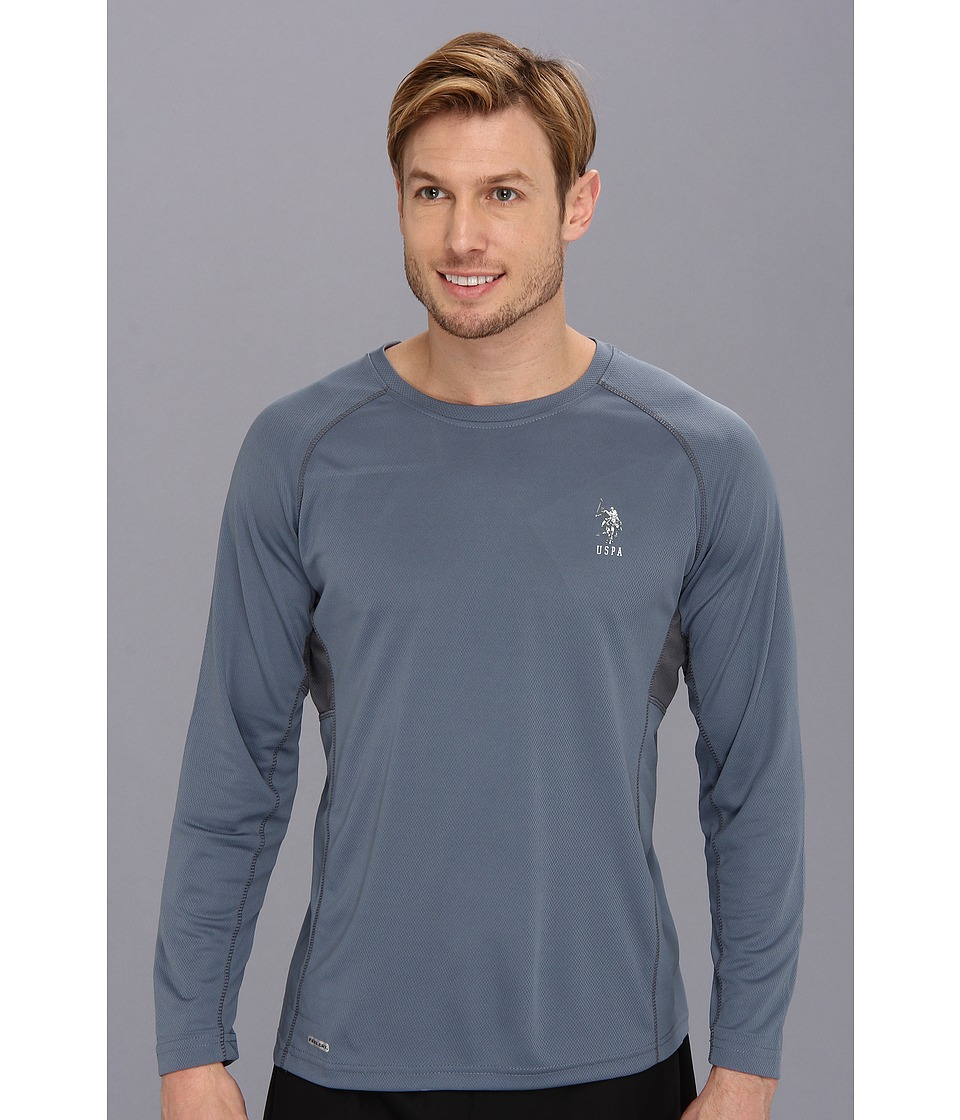 U.S. POLO ASSN. - Long Sleeve Paneled Performance Crewneck Raglan With Poly Micro Mesh Insert (Blue Slate) Men's Long Sleeve Pullover
