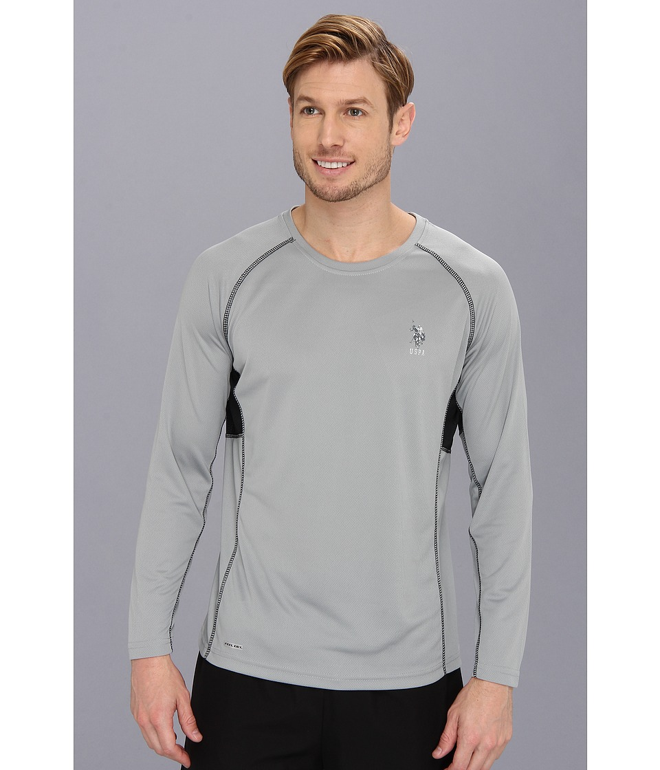 U.S. POLO ASSN. - Long Sleeve Paneled Performance Crewneck Raglan With Poly Micro Mesh Insert (Lime Stone) Men's Long Sleeve Pullover