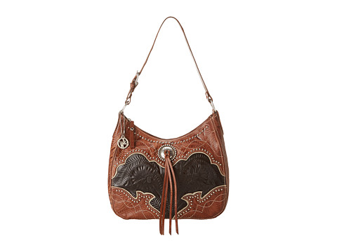 American West - Heart Of Gold Large Shoulder Bag (Brown/Black) Shoulder Handbags