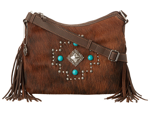 American West - Free Spirit Crossbody (Chocolate/Brindle Hair) Cross Body Handbags