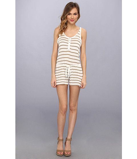 LAmade - Stripe Romper With Waist Tie (Tobacco/Cream) Women's Jumpsuit & Rompers One Piece
