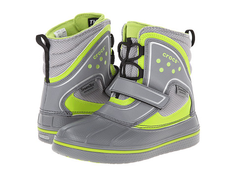 Crocs Kids - AllCast Waterproof Boot GS (Toddler/Little Kid/Big Kid) (Charcoal/Volt Green) Boys Shoes