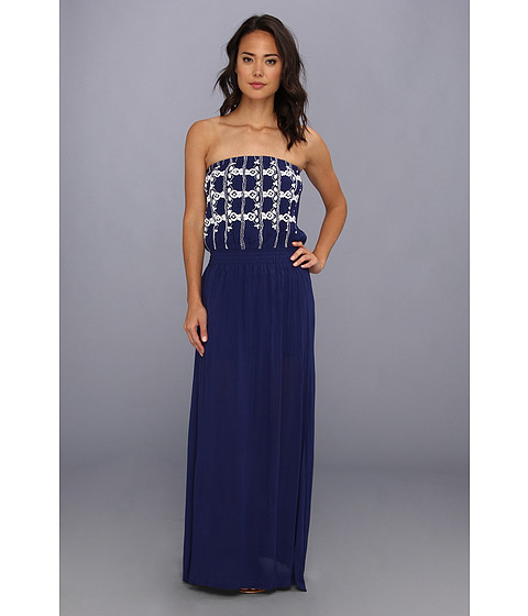LAmade - Embroidered Smocked Maxi Dress/Lined (Navy) Women's Dress
