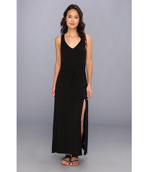 LAmade - V Back Tie Waist Maxi (Black) Women's Dress