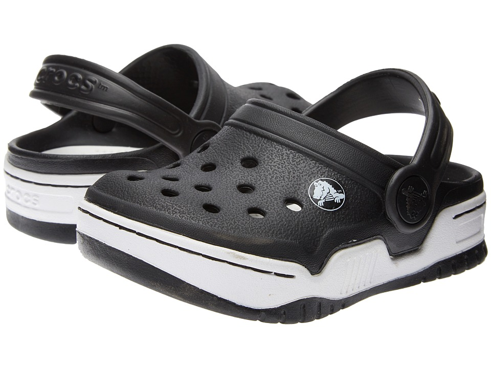 Crocs Kids - Front Court Clog (Toddler/Little Kid) (Black/White) Kids Shoes