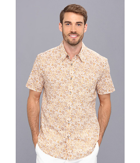 Mr.Turk - Slim Jim S/S Shirt in Palm Desert Floral (Yellow) Men's Short Sleeve Button Up