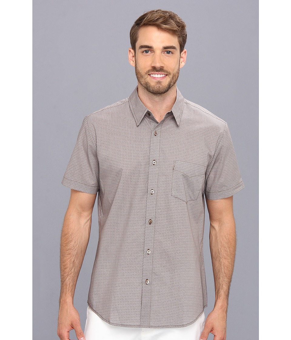 Mr.Turk - Slim Jim S/S Shirt in Circular Grille Print (Taupe) Men