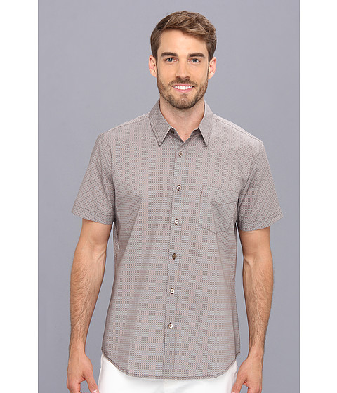 Mr.Turk - Slim Jim S/S Shirt in Circular Grille Print (Taupe) Men's Short Sleeve Button Up