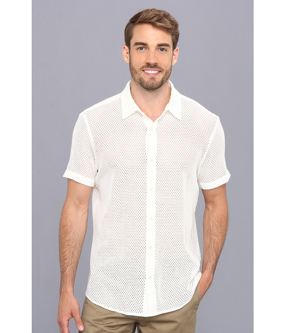 Mr.Turk - Slim Jim S/S Shirt in Petaluma Mesh (White) Men's Short Sleeve Button Up