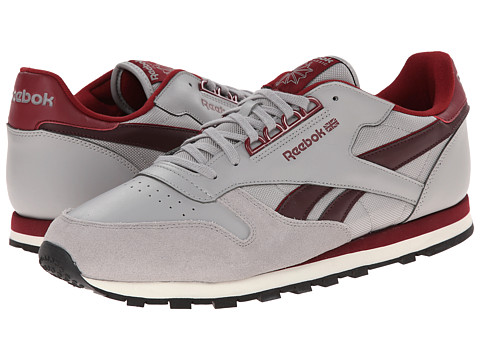 Reebok Lifestyle - Classic Leather RE (Medium Grey Heather/Solid Grey/Burgundy/Dark Red/Cream White) Men's Shoes