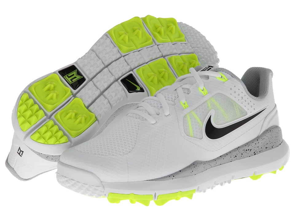 Nike Golf - Nike TW '14 Mesh (White/Black/Volt/Wolf Grey) Men's Golf Shoes