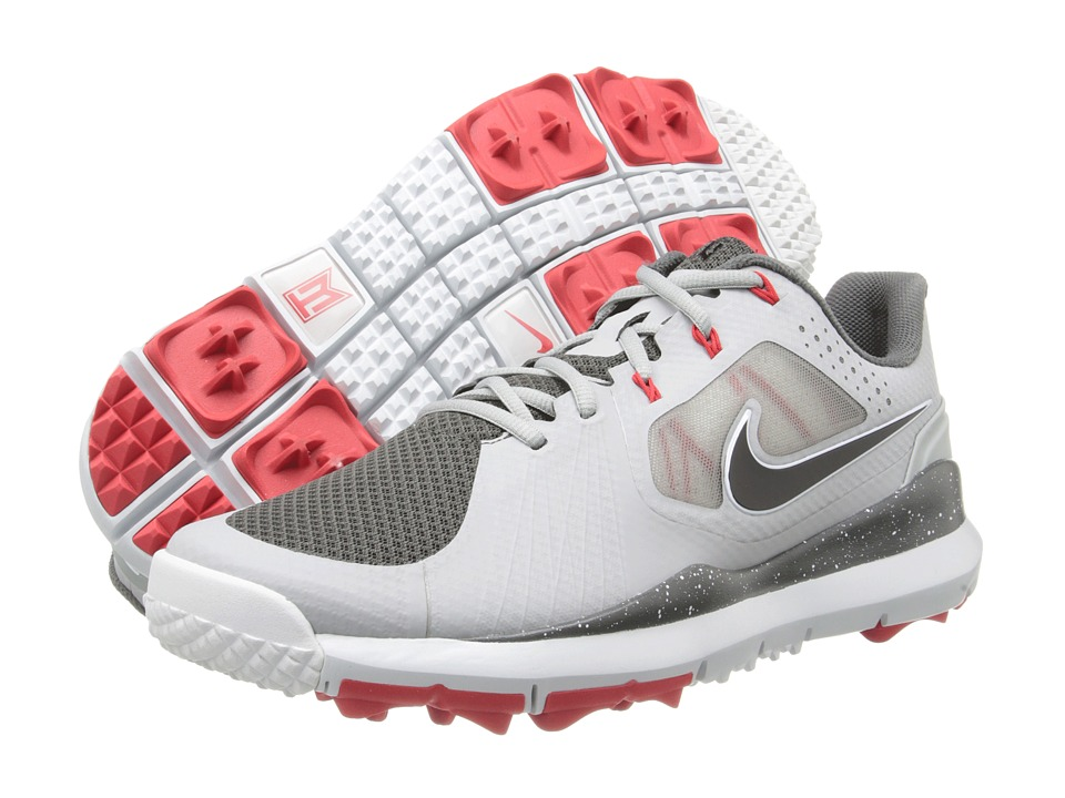 Nike Golf - Nike TW '14 Mesh (Grey/Black/Lagoon Red/Dark BS Grey) Men's Golf Shoes