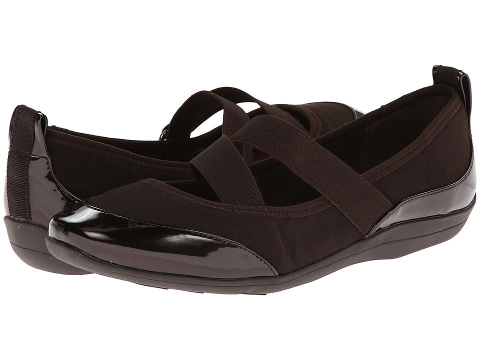 Soft Style Haden (Dark Brown Fabric/Patent) Women