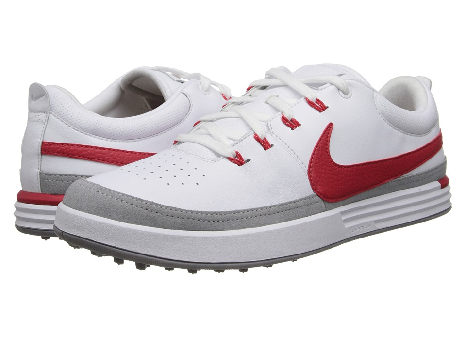 Nike Golf - Nike Lunarwaverly (White/Action Red/Light Bone/SL) Men's Golf Shoes