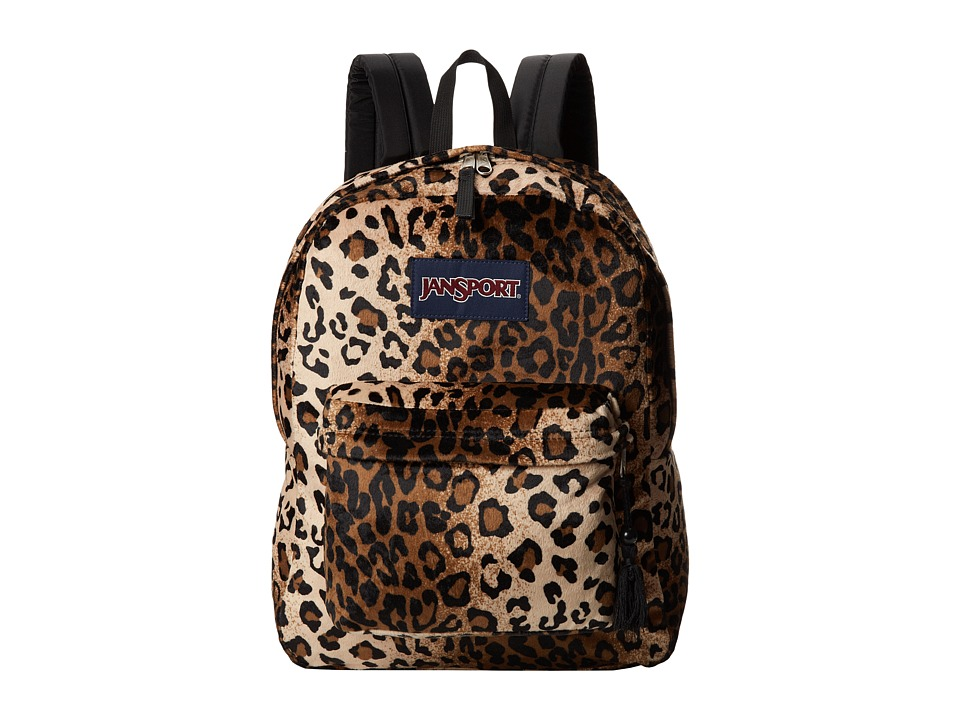 JanSport - High Stakes (Black/Beige Plush Cheetah) Backpack Bags
