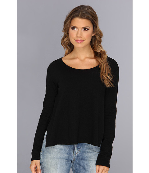 BCBGeneration - L/S Linen Crew Neck Top VRQ1R602 (Black) Women