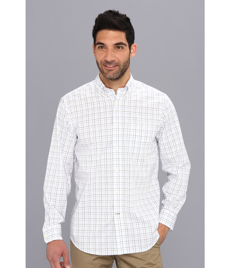 Nautica - L/S Windowpane Woven Shirt (Bright White) Men's Long Sleeve Button Up