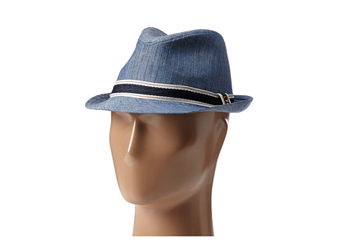 Sperry Top-Sider - Chambray Fedora w/ Ribbon Trim (Denim) Fedora Hats