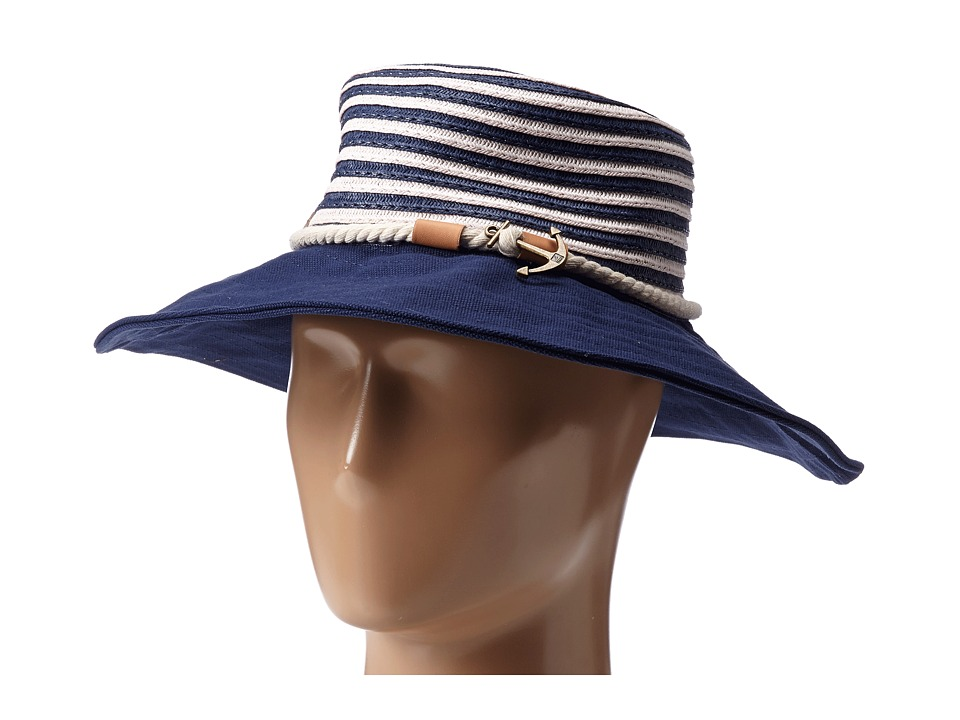 Sperry Top-Sider - Stripe Floppy Hat w/ Canvas Brim (Bright Navy Blue) Traditional Hats