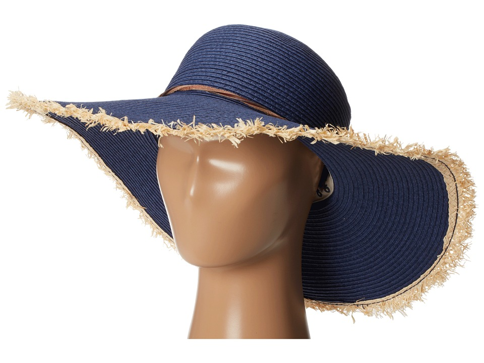 Sperry Top-Sider - Long Brim Straw Hat w/ Contrast Edges (Navy) Traditional Hats