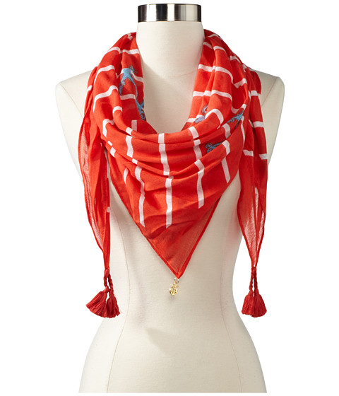 Sperry Top-Sider - Square Diagonal Stripe Anchor (Hot Coral) Scarves