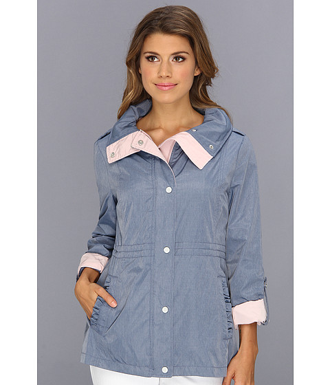 Jessica Simpson - Anorak w/ Contrast Roll Up Sleeves (Chambray/Rose) Women
