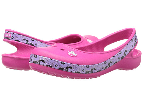 Crocs Kids - Crocband Genna II Leopard (Little Kid/Big Kid) (Candy Pink/Neon Purple) Girls Shoes