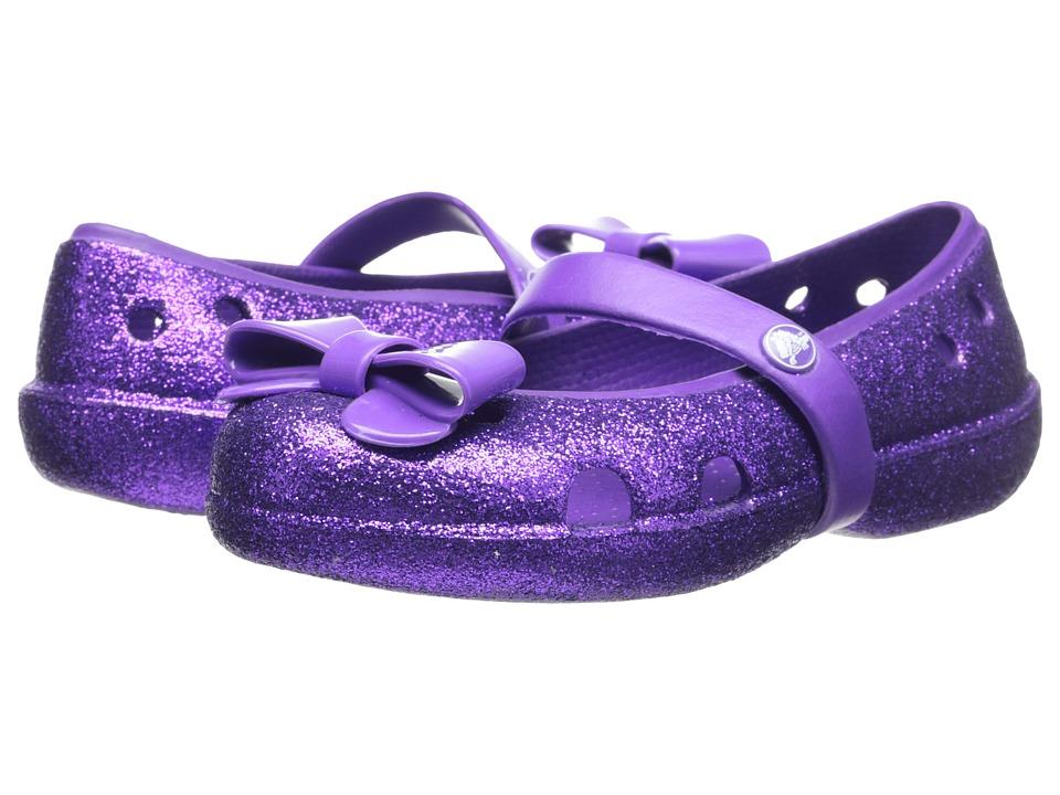 Crocs Kids Keeley Flat Bow Charm Hi Glitter (Toddler/Little Kid) (Neon Purple/Neon Purple) Girls Shoes