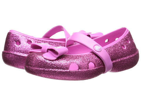 Crocs Kids - Keeley Flat Bow Charm Hi Glitter (Toddler/Little Kid) (Party Pink/Party Pink) Girls Shoes