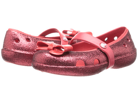 Crocs Kids - Keeley Flat Bow Charm Hi Glitter (Toddler/Little Kid) (Pepper/Pepper) Girls Shoes