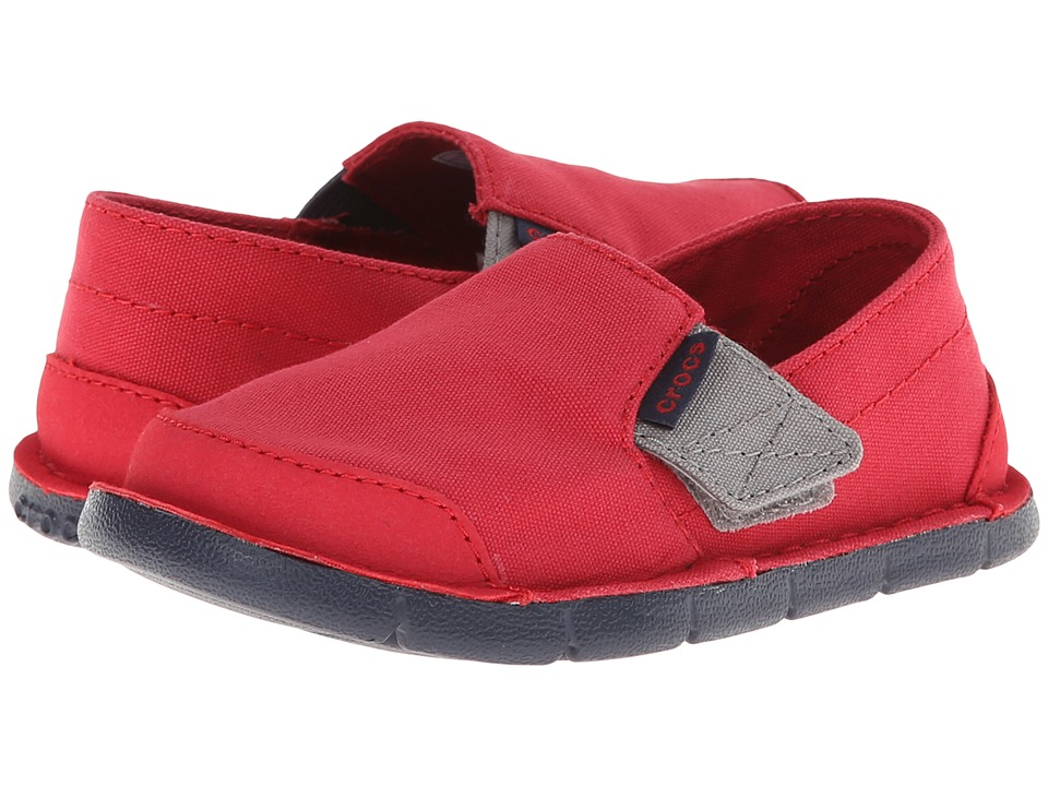 Crocs Kids - Crocs Cobo Loafer Boys PS (Toddler/Little Kid) (Pepper/Navy) Boys Shoes