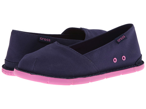 Crocs Kids - Crocs Cabo Slip-on Girls GS (Little Kid/Big Kid) (Nautical Navy/Party Pink) Girls Shoes