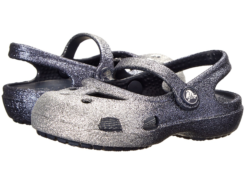 Crocs Kids - Shayna Hi Glitter Ombre (Toddler/Little Kid) (Silver/Navy/Navy) Girl's Shoes