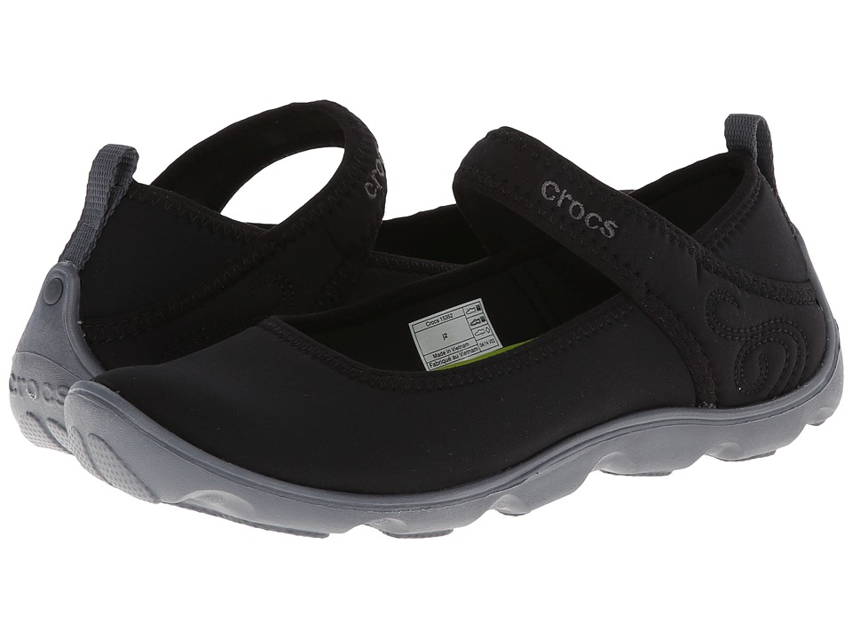 Crocs Kids - Busy Day MJ Flat Girls (Little Kid/Big Kid) (Black/Charcoal) Girls Shoes