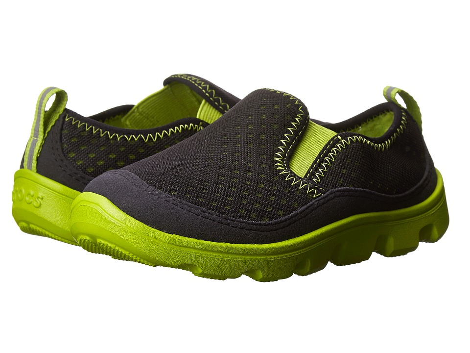 Crocs Kids - Duet Sport Slip-on Sneaker PS (Toddler/Little Kid) (Black/Volt Green) Boys Shoes