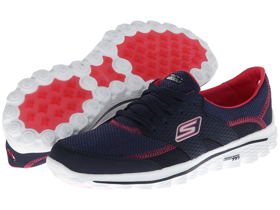 SKECHERS Performance - Go Walk 2 - Fairway (Navy/Pink) Women's Lace up casual Shoes