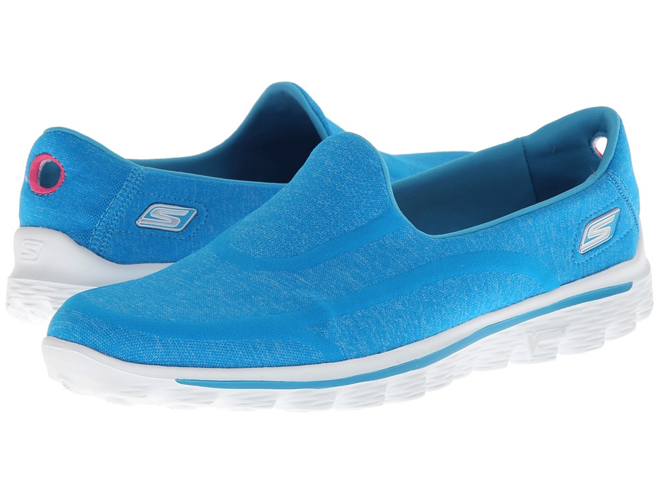 SKECHERS Performance - Go Walk 2 - Supersock (Turquoise) Women's Slip on Shoes