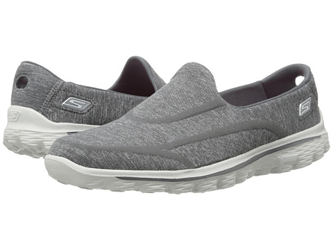 SKECHERS Performance - Go Walk 2 - Supersock (Charcoal) Women's Slip on Shoes