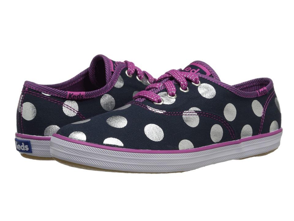 Keds Kids - Champion CVO Dots (Little Kid/Big Kid) (Navy Oversized Dot) Girl's Shoes