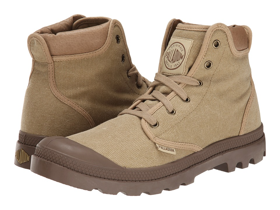 Palladium - Pampa Hi Cuff (Stonewashed Dark Khaki) Men's Lace up casual Shoes