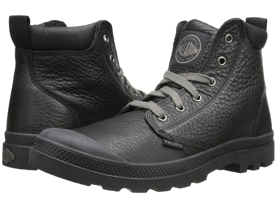 Palladium - Pampa Hi Cuff Lea (Black/Metal) Men's Boots