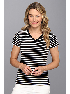 SALE! $15.99 - Save $18 on Jones New York Short Sleeve V Neck Top (Black White) Apparel - 52.97% OFF $34.00