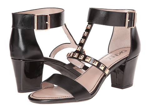 DKNY - Malika - T-Strap Sandal w/ Studs 65mm (Black Shiny Calf) Women