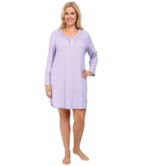 Karen Neuburger - Plus Size L/S Pullover Nightshirt (Foulard/Aubergine) Women