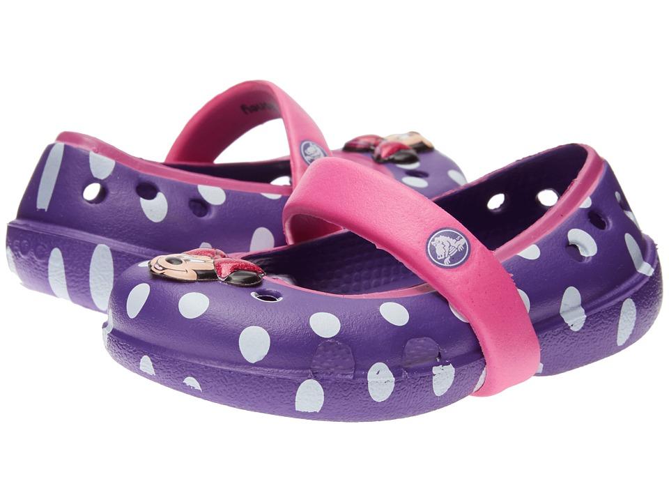 Crocs Kids Keeley Minnie Flat (Toddler/Little Kid) (Neon Purple/Neon Megenta) Girls Shoes